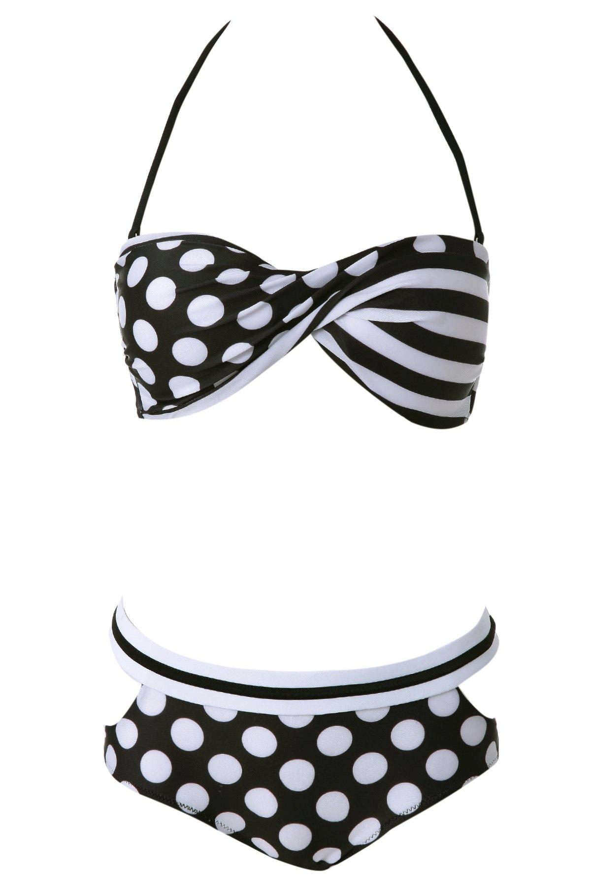 Halter Polka Dot Bikini Set - WHITE S