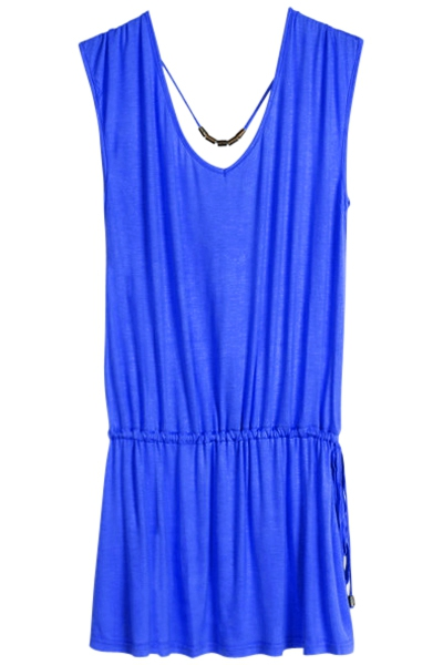 Solid Color V-Neck Elastic Waisted Dress - SAPPHIRE BLUE ONE SIZE(FIT SIZE XS TO M)