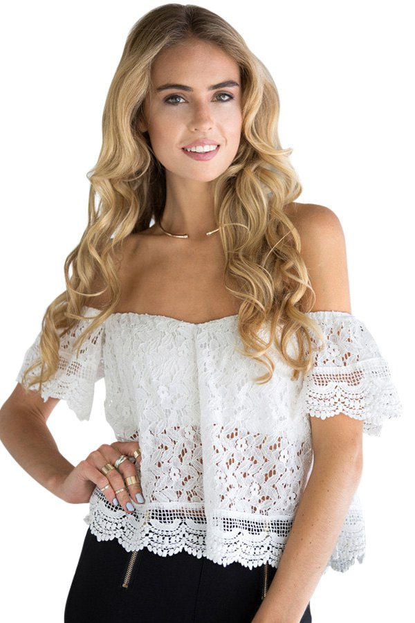 Strapless Openwork Lace T Shirt White Tees Zaful