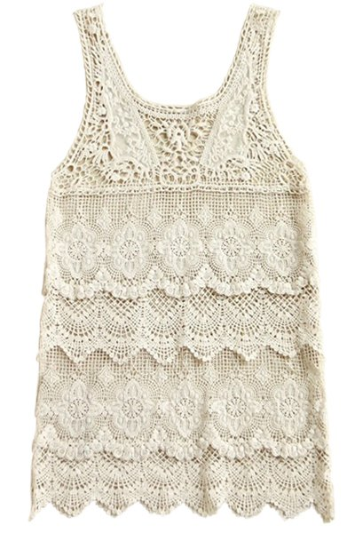 Scoop Neck Openwork Sleeveless Tank Top - OFF WHITE ONE SIZE(FIT SIZE XS TO M)