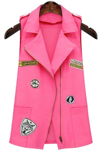 Lapel Neck Sleeveless Patch Design Waistcoat