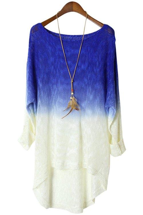 Blue Spliced Long Sleeve Knitwear - SAPPHIRE BLUE ONE SIZE(FIT SIZE XS TO M)
