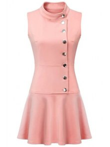 Ruffles Button Down Skater Dress - Pink L