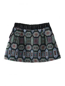 Geometric PU Leather Splicing Skirt