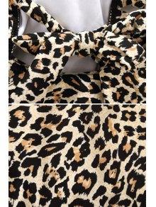 Tie-Up Leopard Pattern Openwork Swimwear - BLACK M