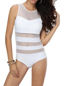 Solid Color Voile Splicing One Piece Swimwear