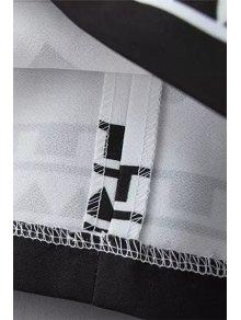 Geometric Print Color Block Dress - WHITE S