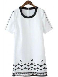 Geometric Print Color Block Dress