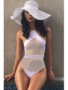 Jewel Neck Voile Splicing See Through One Piece Swimwear
