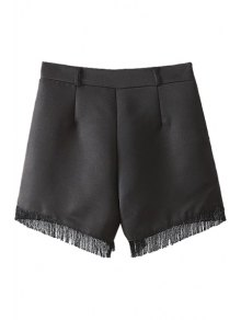 Solid Color Fringe Splicing Shorts