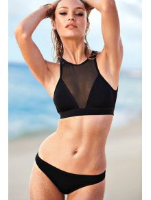Round Neck Black Voile Splicing Bikini Set