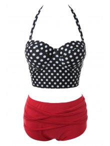 Polka Dot Bandage Vintage Bikini Set - Black And White And Red