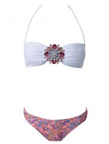 Strapless Floral Print Bikini Set