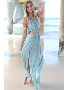Solid Color Tie-Up Openwork Maxi Dress