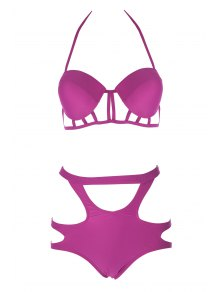 Caged High Rise Cut Out Bikini Set - Plum