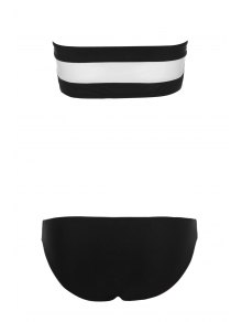 Color Block Stripe Bikini Set - WHITE/BLACK S