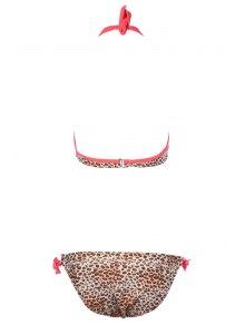 Leopard Print Lace-Up Bikini Set