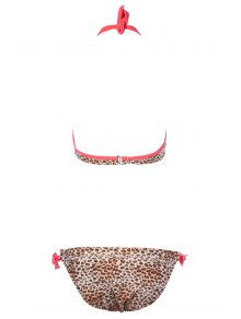 Leopard Print Lace-Up Bikini Set - ORANGE S