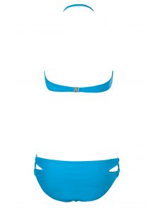 Solid Color Strapless Bikini Set - LAKE BLUE S