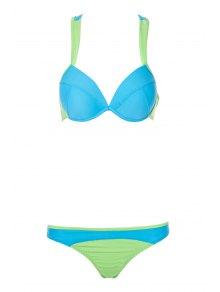 Color Block Splicing Straps Bikini Set