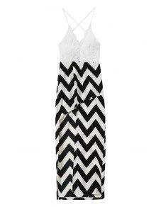 Spaghetti Straps Lace Stripes Spliced Dress