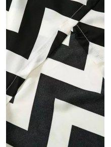 Spaghetti Straps Lace Stripes Spliced Dress - WHITE/BLACK S