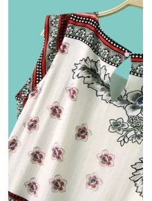 Retro Floral Print Sleeveless Dress - WHITE S
