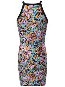 Floral Print Spaghetti Strap Dress - COLORMIX S