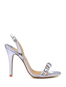 Buy Stiletto Heel Rhinestones PU Leather Sandals - SILVER 38