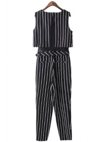 Striped Sleeveless Jumpsuits - BLACK S