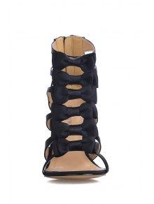 Satin Stiletto Heel Bowknot Black Sandals - BLACK 35