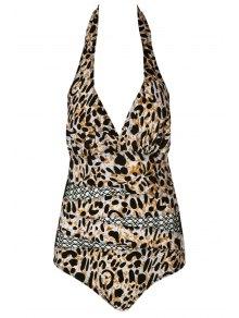 Halter Leopard Pattern Mesh Swimwear