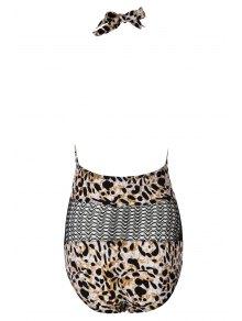 Halter Leopard Pattern Mesh Swimwear - LEOPARD M