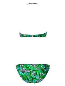 Leopard Pattern Floral Print Bikini Set - BLUE S