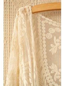 Collarless Leaves Pattern Lace Coat