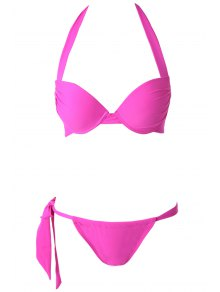 Solid Color Push-Up Halter Bikini Set