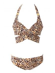 Leopard Print Cross Bikini Set