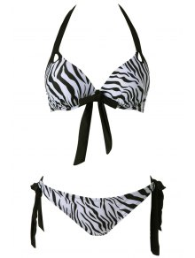 Zebra Striped Print Bikini Set