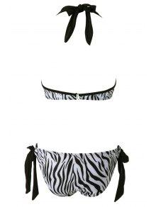 Zebra Striped Print Bikini Set - WHITE/BLACK S