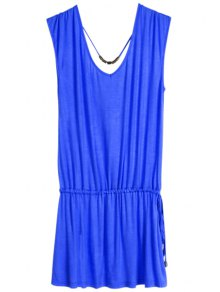 Solid Color V-Neck Elastic Waisted Dress