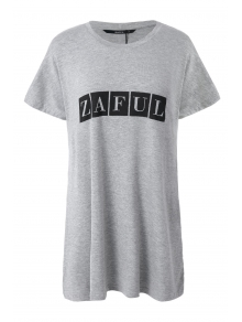 Letter Wing Print Short Sleeve T-Shirt - GRAY ONE SIZE(FIT SIZE XS TO M)