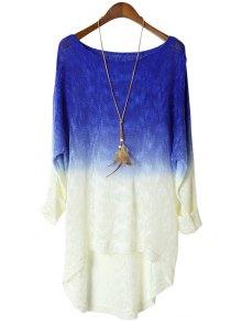 Blue Spliced Long Sleeve Knitwear