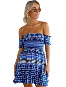 Blue Ethnic Print Slash Neck Dress