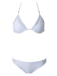 Voile Splicing Tie-Up Divided Type Swimwear