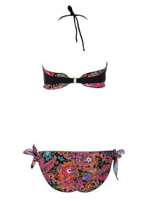 Print Splicing Strapless Bikini Set - RED/BLACK S