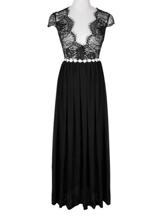 unique Lace Splicing Backless Maxi Dress - BLACK S