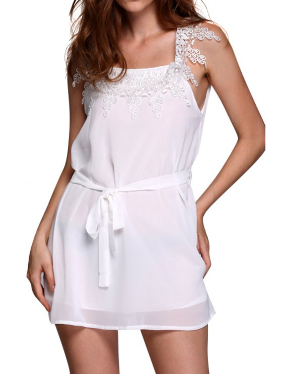 chic Square Neck Lace Splicing Tie-Up Dress - WHITE S