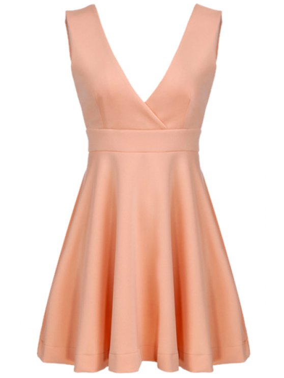 hot Plunging Neck Backless Solid Color Dress - PINK S