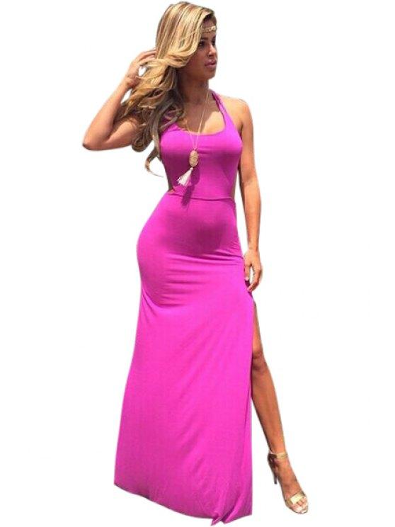 chic Pink Sleeveless Side Slit Maxi Dress - PINK S