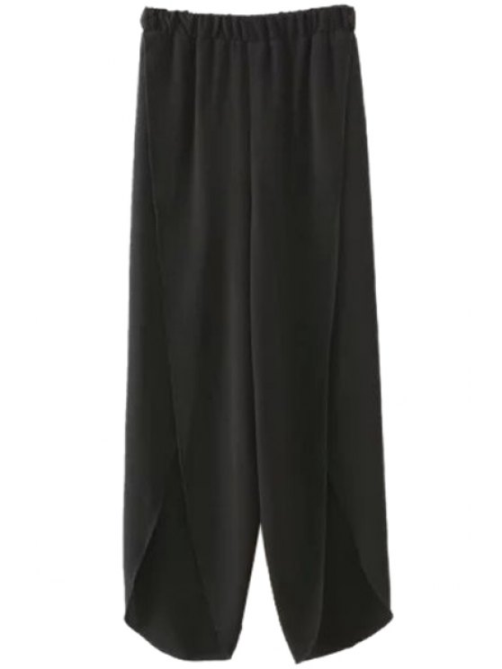 fashion Solid Color Slit Elastic Waist Pants - BLACK S